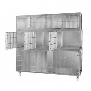 Veterinary animal cage unit